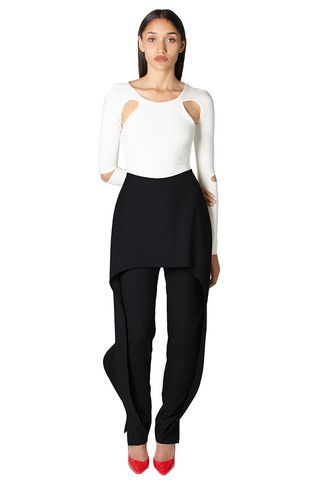 BAZZUL Rhodes Black Dress Pant with Ruffle Overlay | www.bazzul.com