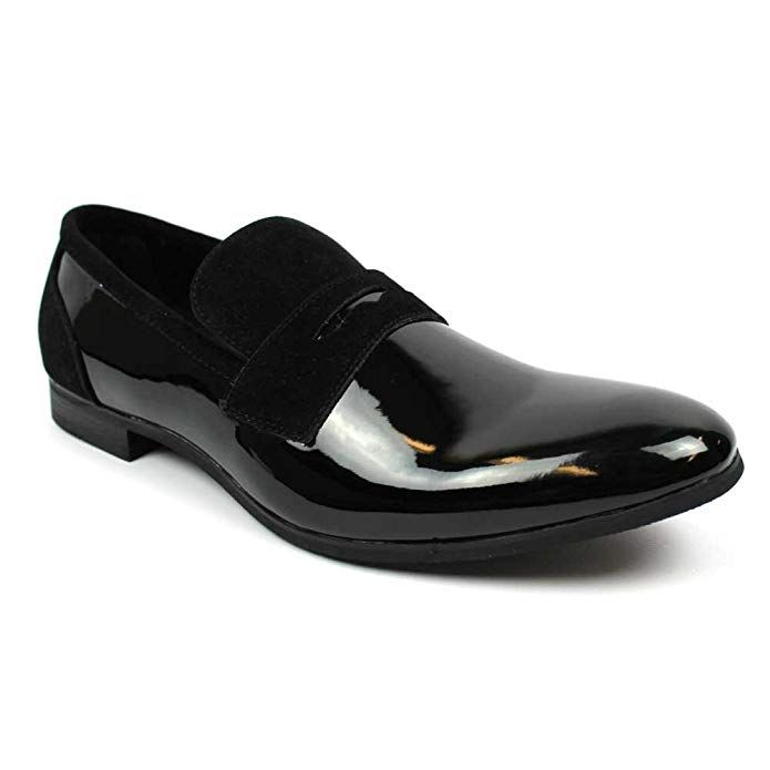 4f986de99e547 Amazon.com | Tuxedo Black Suede Patent Leather Slip On Loafer Modern ...