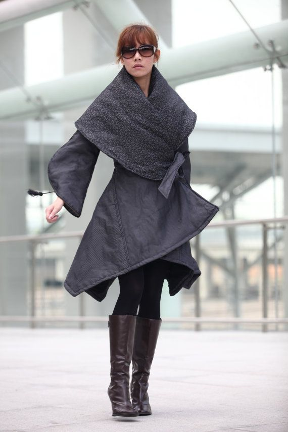 "I love how the designer has fully committed to the shape of this coat - even the sleeves are dramatic! Grey Classical ""X"" Shape Warm Long Cotton Coat - NC203"