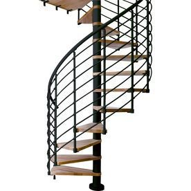 Best Dolle Oslo 63 In X 9 Ft Black With Wood Treads Spiral 400 x 300