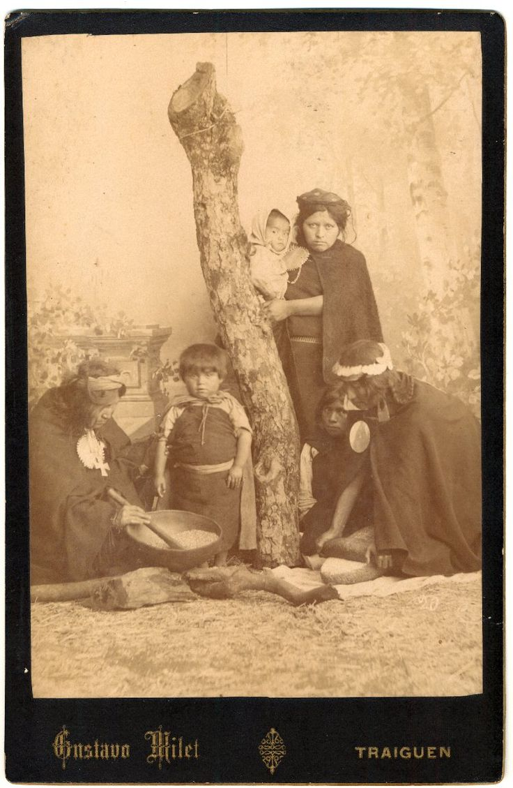 ca 1890- A studio portrait of three Mapuche women and three Mapuche children against a painted background of an outdoor scene; the women and children wear variously trarilonko (hair lace/headgear), quipan ( a square cloth, wrapped around the body), trarihue (waistband) ikulla (shawl), and tupu (clothes pin); two of the women are kneeling, engaged in processing foodstuffs, the third women stands next to a tree trunk holding one of the children; Traiguen, Chile.
