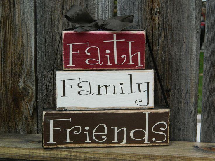 Faith, Family, Friends Inspirational Primitive wood stackers. $11.00, via Etsy.