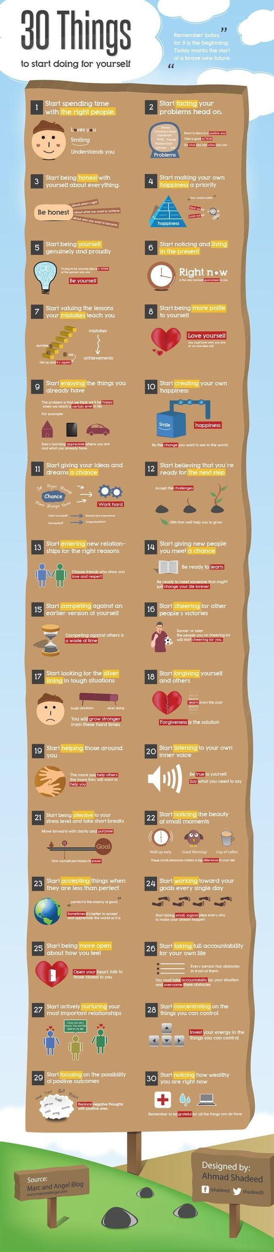 A positive 'to-do' list for the days, weeks and months ahead -- via: http://www.marcandangel.com/2011/12/18/30-things-to-start-doing-for-yourself/