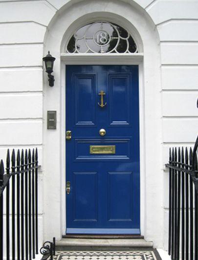 Nautical Door Knocker, Blue Door, Transom Window With Address