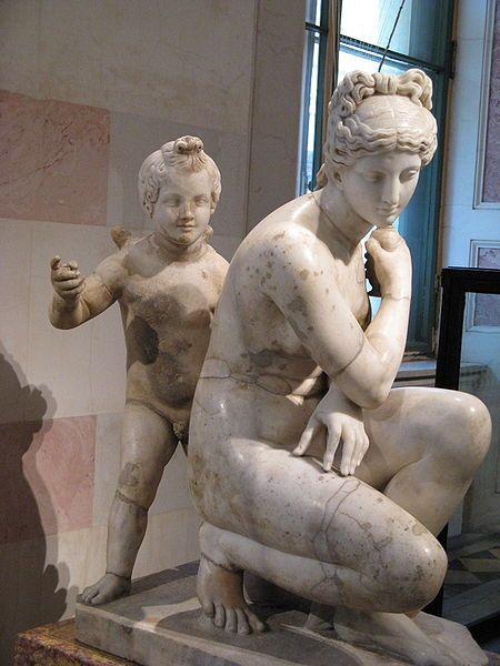 Aphrodite and Eros at the Hermitage. Roman copy from a Greek original, Ancient Rome. 2nd century. Marble. Height 89 cm.
