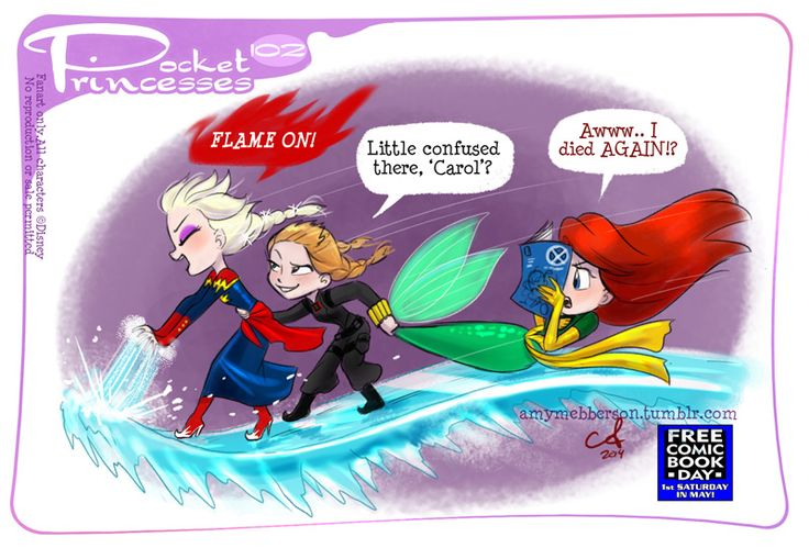 Pocket Princesses 102: Love your Comics (Of course Elsa is in the Carol Corps!) FREE COMIC BOOK DAY is tomorrow everyone! Seek out your local comic shop cuz they'll have free comics and activities and pros like me signing things and saying hi! Please Reblog, Don't repost