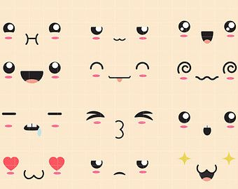 Kawaii Faces II Clip Art for Scrapbooking Card Making Cupcake Toppers Paper Crafts