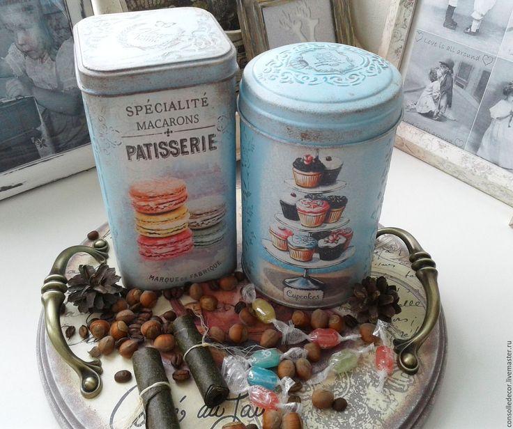 """Купить Баночки жестяные """"Les macarons"""" - комбинированный, банки для продуктов, банки для специй, банки для сыпучих"""