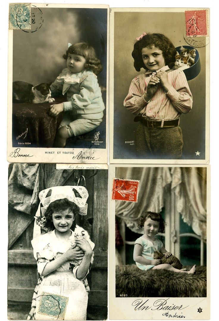 Lot of 4 Vintage Cat Postcards Victorian Girls w Cats Saucepan Table Lace Hat   eBay