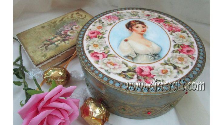 Decoupage tutorial - DIY.  Decoupage ideas.  Vintage gift box.
