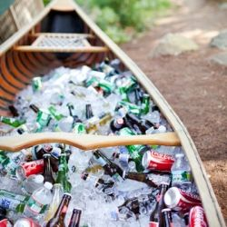 Canoe drinks. Cute idea for a summer party. If you have canoe you can easily fill with ice that is.