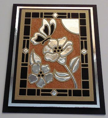 handmade greeting card from Inky Finger Zone ... made using stained glass butterfly and flower die ... mat gold, black and shiny silver foil ... super look ... a little bit Deco ...