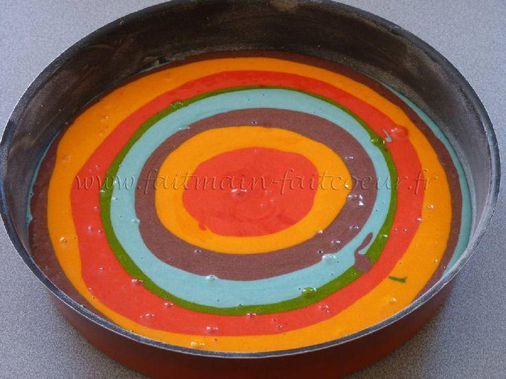 Gâteau multicolore