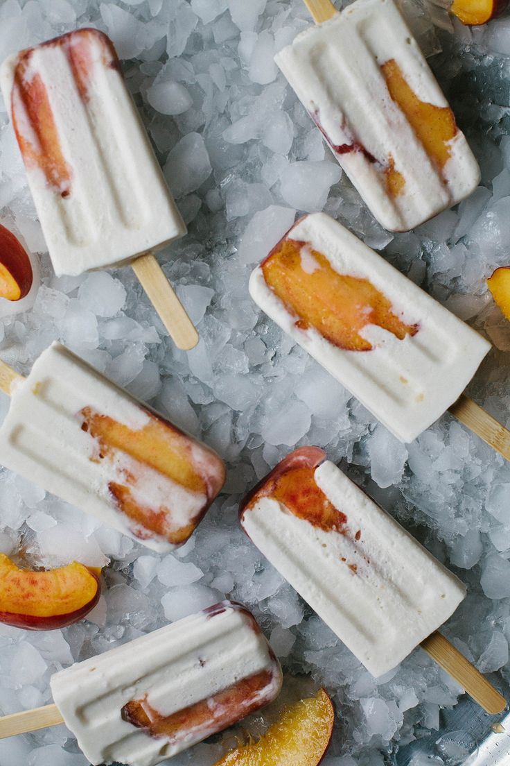 A Daily Something | Peach Coconut Cream Popsicles with Honey and Cardamom