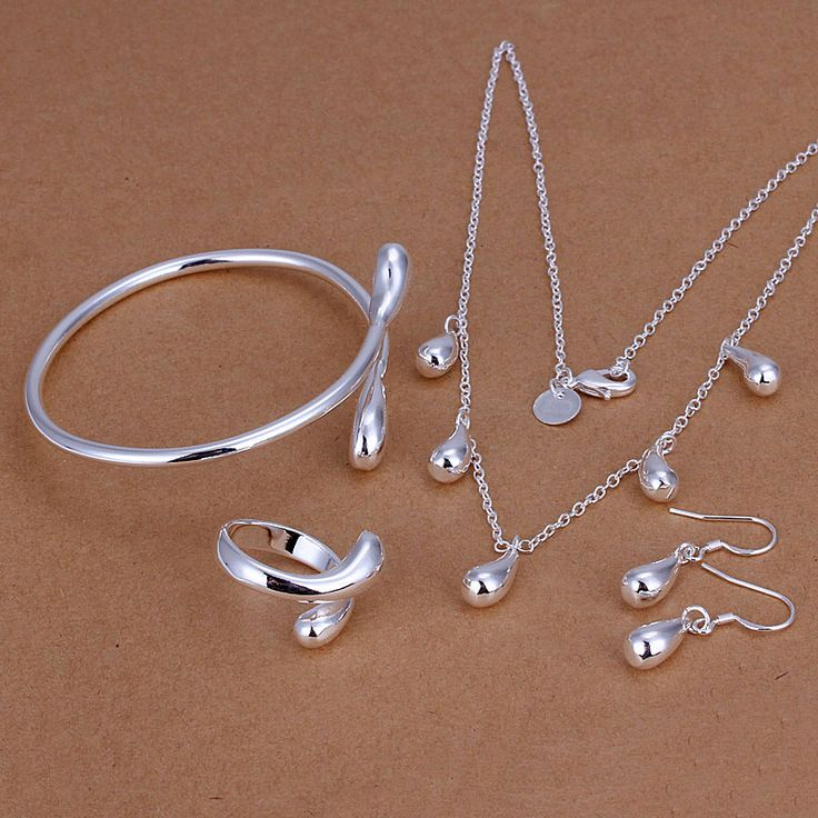 Free Shipping online shopping india silver plated jewelry set Waterdrops Necklace&Bangle&Earring&Ring  bone