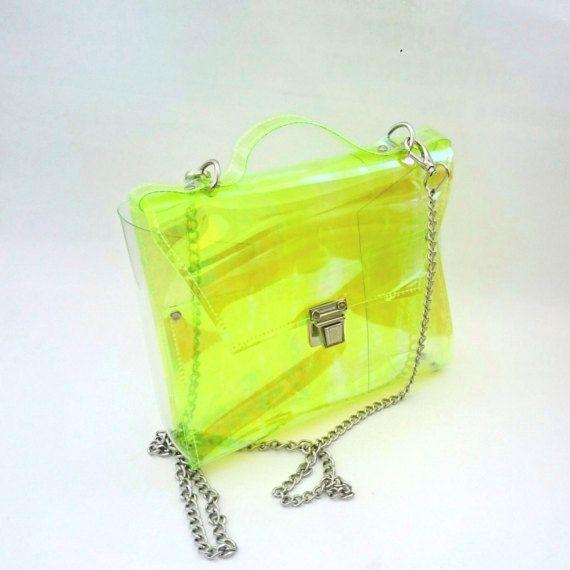 Crossbody bag Clear See Through Plastic PVC Vinyl by YPSILONBAGS