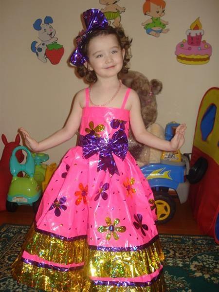 Детское платье из подручных материалов на конкурс