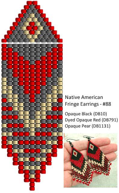 Linda's Crafty Inspirations: Fringe Earrings #88 - Red, Black & Cream