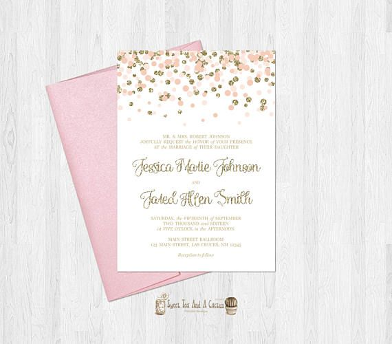 Blush Pink and Gold Wedding Invitation Elegant Pink and Gold