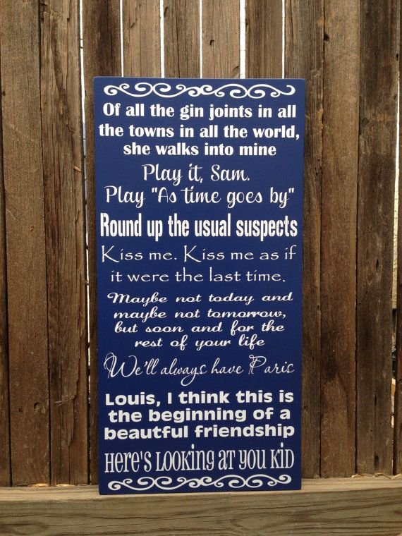 Casablanca Movie Love Quotes Wood Subway Sign 12x20 Custom Personalize Anniversary Quotes Old Classic Hollywood Movie