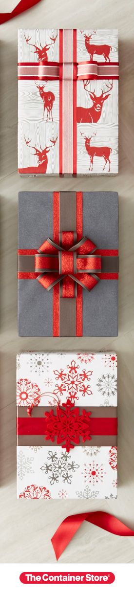 Looking for a unique bow treatment? Consider layering a contrasting strip of gift wrap under your ribbon. Tie-ons also make great bows!