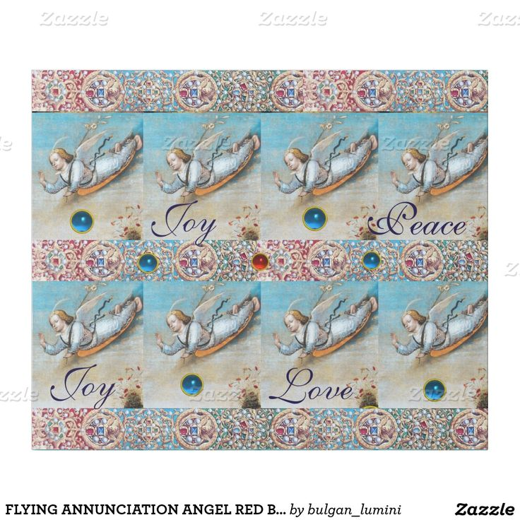 FLYING ANNUNCIATION ANGEL RED BLUE GEMSTONES Xmas Wrapping Paper