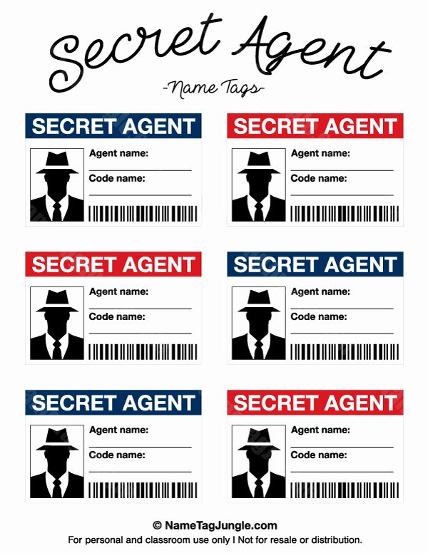 Service Dog Id Card Template Free Download Best Of Free Printable Secret Agent Name Tags These Would Be Secret Agent Party Spy Kids Party Spy Party
