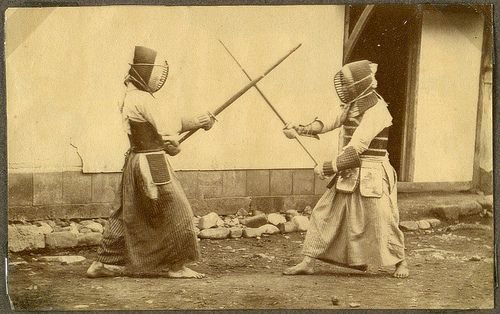 Japanese art of fencing. Drill with long sabres. 1868