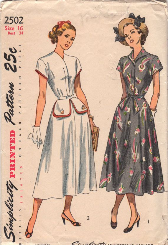 1940s Simplicity 2502 Misses Flared Skirt DRESS wing collar or collarless, peplum womens vintage sewing pattern by mbchills