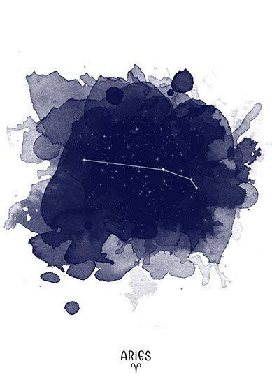 Constelación de Aries, Aries zodiaco, acuarela de Aries, Aries digital, impresión de constelación del zodiaco, zodiaco, estrellas constelación, Aries