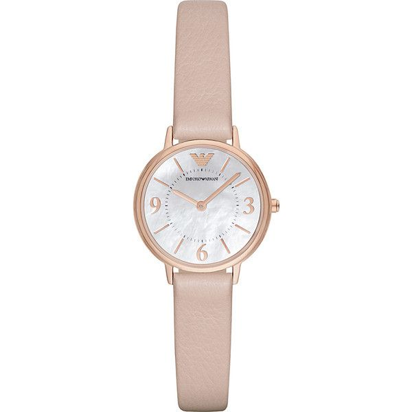 Emporio Armani Dress Watch - Beige - Women's Watches ($175) ❤ liked on Polyvore featuring jewelry, watches, tan, beige watches, water resistant watches, emporio armani, dress watch and emporio armani watches
