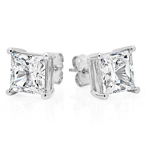 Stud Earrings Sterling Silver .925 Genuine Princess Cut Cubic Zirconia 1.5 Carats Total Weight Authentic stud earrings - $0.01 www.jewelryandwatches.co.za