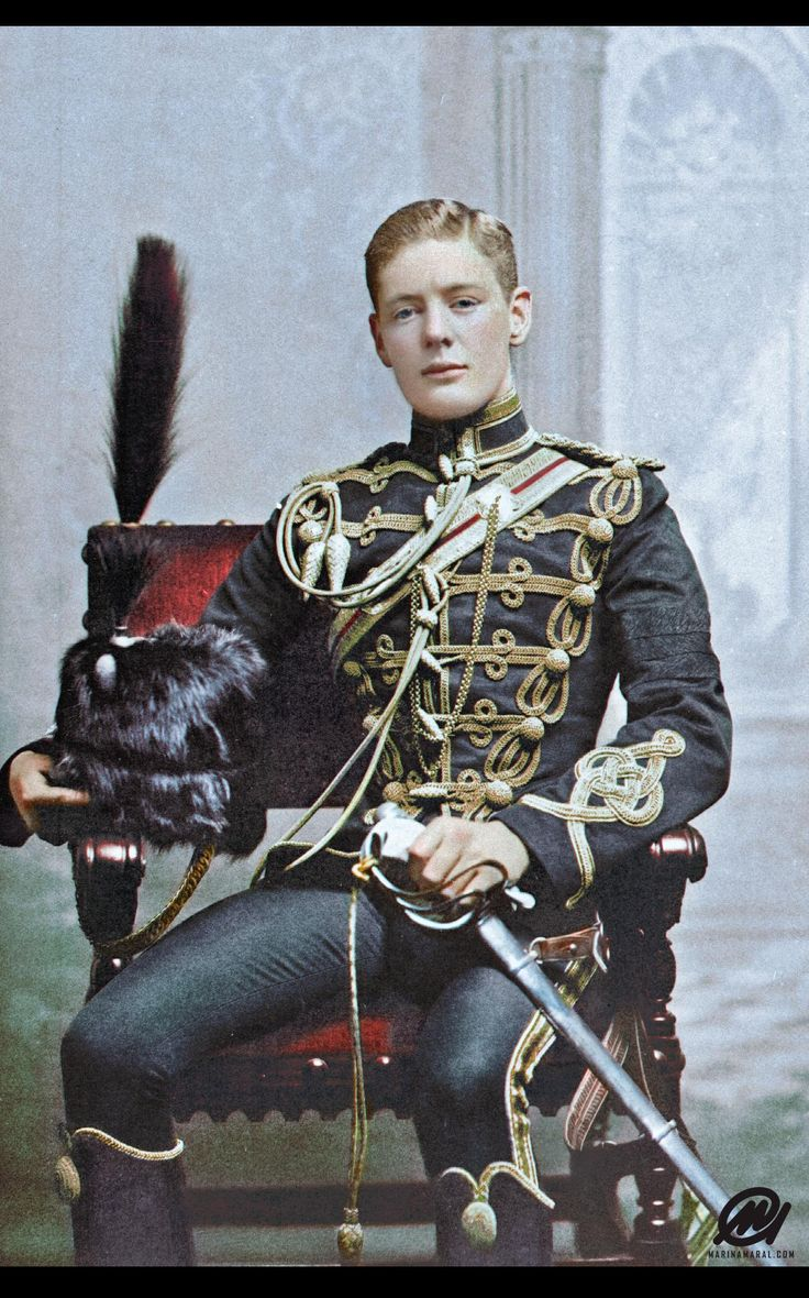 Winston Churchill as a Cornet in the 4th Queen's Hussar's Cavalry 1895. He was 21 at the time.