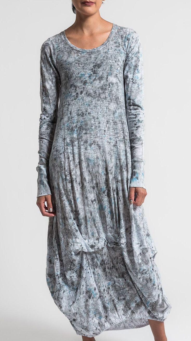 Gilda Midani Pattern Dyed Long Balloon Dress in Monsoon | Santa Fe Dry Goods & Workshop #gildamidani #dyed #splatter #pattern #dress #spring #summer #ss17 #fashion #style #clothing #casual #santafe #santafedrygoods