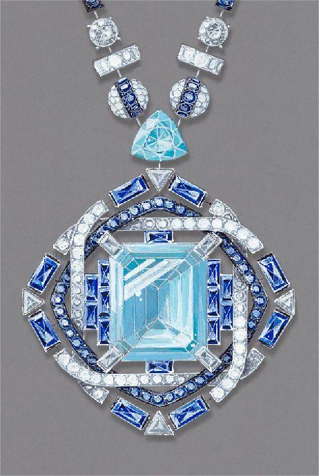 """Chaumet, collection """"Lumière d'eau"""" collier """"Plongée dans l'immensité bleue"""" détail"""