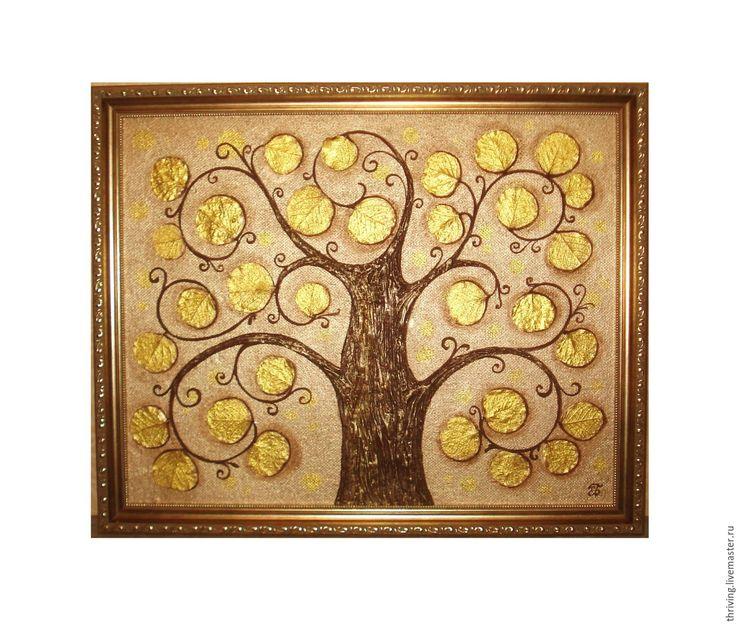"""Эксклюзивная авторская картина """"Золотое дерево"""". Смешанная техника. Картина смотрится богато и современно. Для написания использовалась золотая краска двух оттенков. Дерево-символ жизни и долголетия. Украсит кабинет и гостиную. Шикарный оригинальный подарок как мужчине, так и женщине. Оформлена в красивую багетную раму. Цена 7000руб.+доставка."""