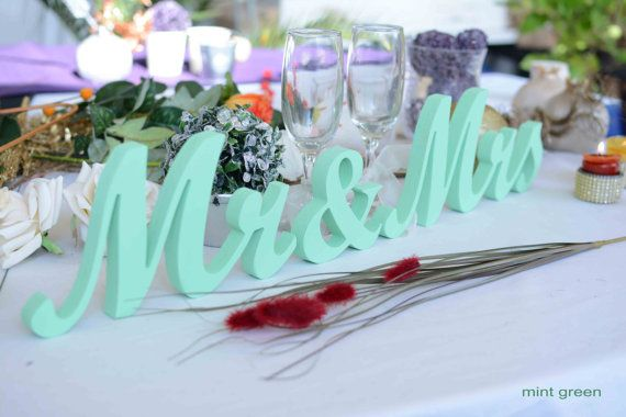 Mr and Mrs Wedding Letters- Mint Green Sign Wedding Decoration- Wedding Signs- Mr & Mrs Glitter Sign- Wedding decoration