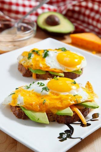 Fried Egg on Toast with Chipotle Mayonnaise, Cheese and Avocado ...