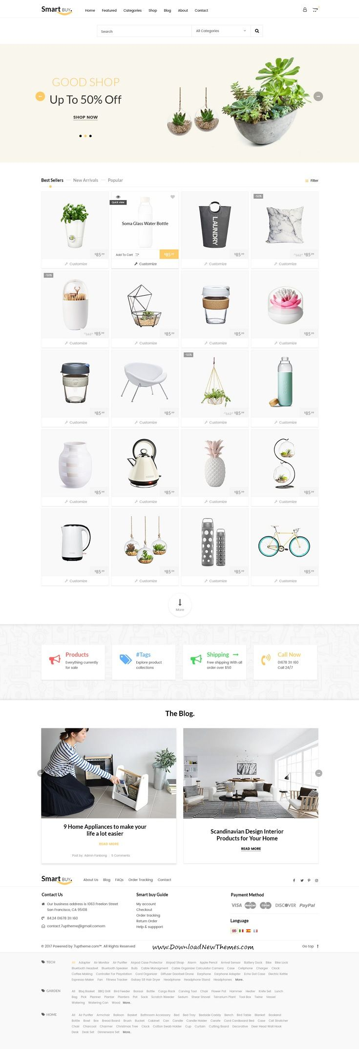 Smartbuy is clean and modern design #PSD #template for stunning #eCommerce website with 10 niche homepage layouts and 25 layered PSD pages to live preview & download click on Visit
