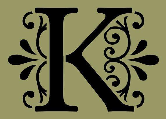 STENCIL Decorative Letter K 10x7
