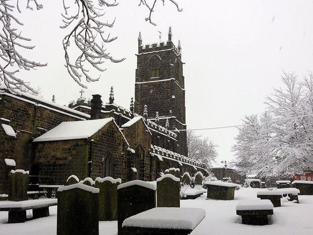 winter weather in Penistone Church in South Yorkshire, Britain