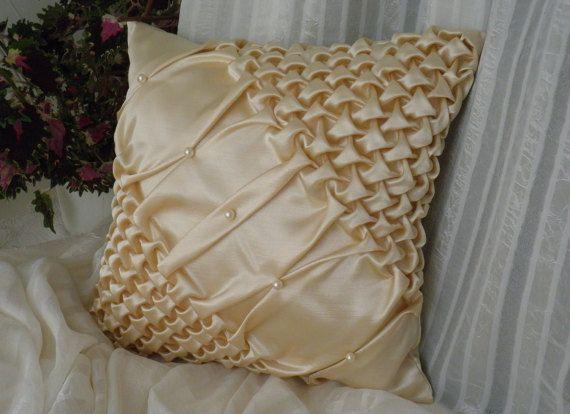 Smock Silk Beaded Gold Cushion Cover,Sofa Pillow,Beaded Cushion,Smock Cushion,Throw Pillow Cover,Room decor ideas 17x17 inch( 42.5x42.5 cm)