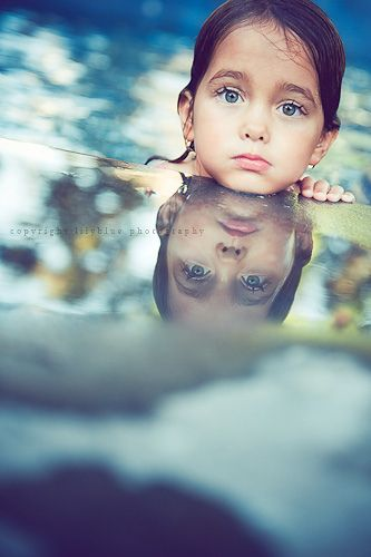 love the reflection: Girls, Photos Ideas, Kids Swim Photography, Color, Kids Photography, Beautiful, Reflection Photos, Blue Eye, Pictures