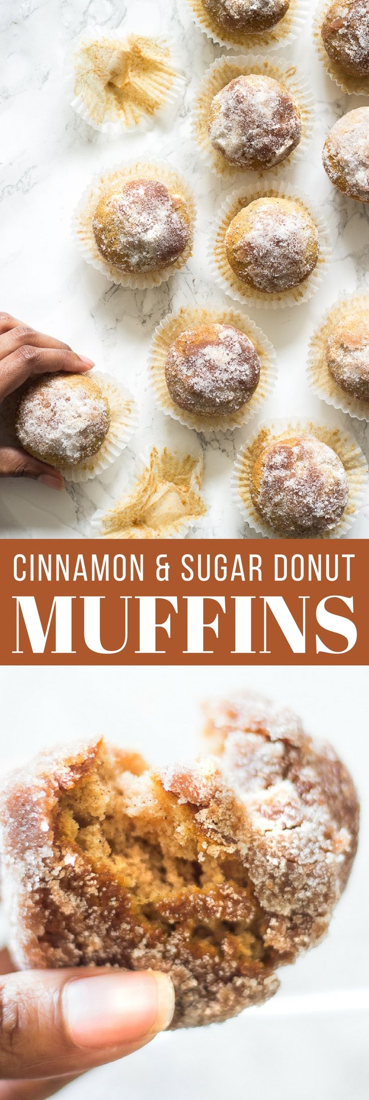 Simple cinnamon and sugar donut muffins are great when you are craving donuts. These hot muffin donuts are brushed with melted butter then swirled in a cinnamon and sugar mixture then coated in only sugar.