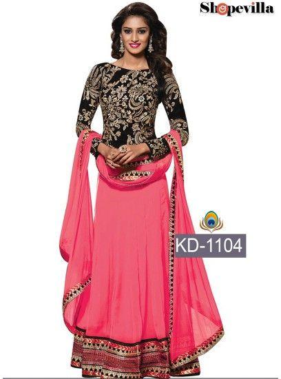 Designer Pink & Black Georgette & Velvet Lehenga Choli-KD-1104
