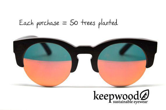 Ebony Wood Sunglasses Red Mirror Lenses Polarized Sunglasses Wood Glasses Womens Eyewear Mens Eyewear Wood Accessories Eco Accessories
