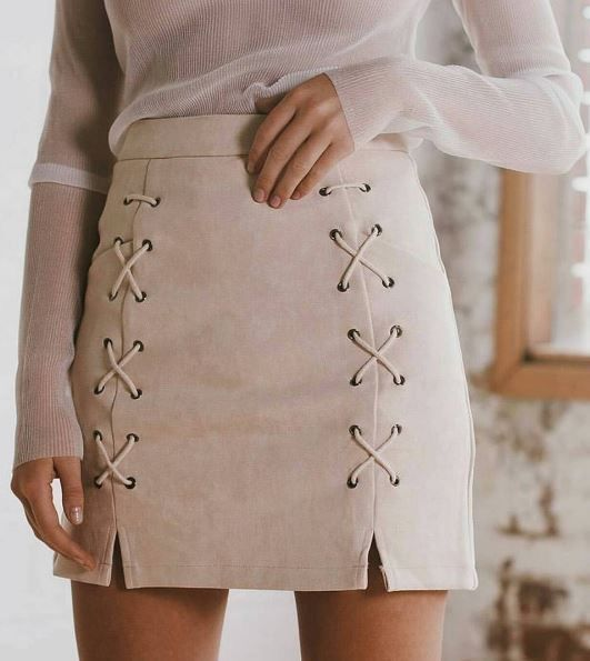 Suede skirt.