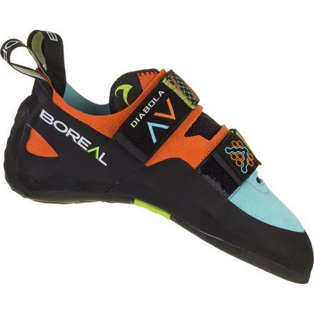 Moderately downturned, Boreal's Diabola Climbing Shoe serves senders looking to step up their game on harder, steeper boulders and routes. Its slightly asymmetric shape enhances power without losing overall comfort, and the Slip Fit last gives a lower, narrower volume for a women-specific shape.