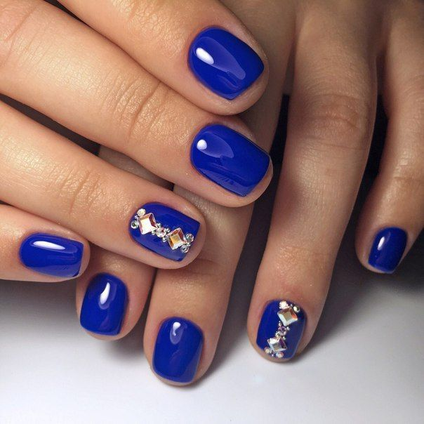 Autumn nails, Beautiful blue nails, Blue gel nail polish, Blue nail art, Blue nails ideas, Blue nails with rhinestones, Bright- blue nails, Evening dress nails
