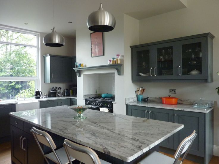 Valley White granite worktops with grey kitchen cabinets